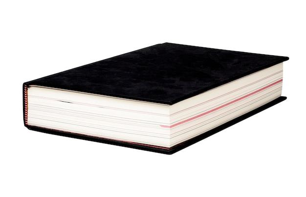 Schwarzes einbandbuch auf weiß