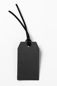Schwarzes etikett der draufsicht auf weißem hintergrund