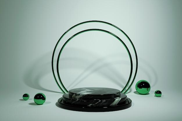 Schwarzes geometrisches marmor 3d-podium mit hellgrünem hintergrund produktpräsentation 3d-rendering-illustration grüne kugeln und runder rahmen