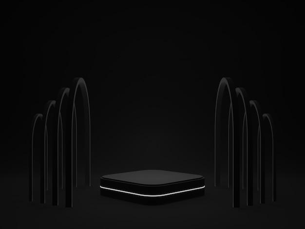 Schwarzes geometrisches podium