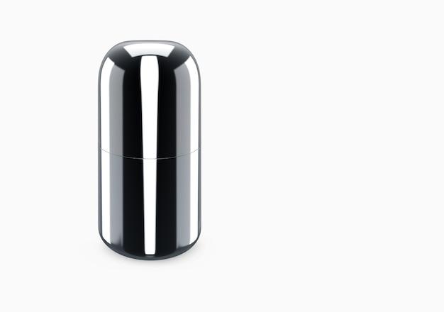 Schwarzes glänzendes duschgel-flaschenmodell vom hintergrund isoliert: duschgel-metallverpackungsdesign. leere hygiene-, medizin-, körper- oder gesichtspflegevorlage. 3d-darstellung
