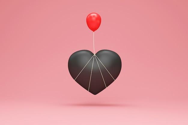 Schwarzes herzsymbol mit rotem ballon auf studiohintergrund