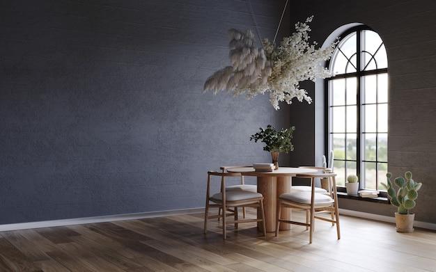 Schwarzes interieur mit dunklen betonwänden bogenfenster und blumenwolke über dem holztisch 3d-rend