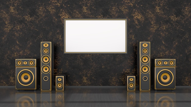 Schwarzes interieur mit schwarzem und gelbem lautsprechersystem des modernen designs und rahmen für modell, 3d-illustration