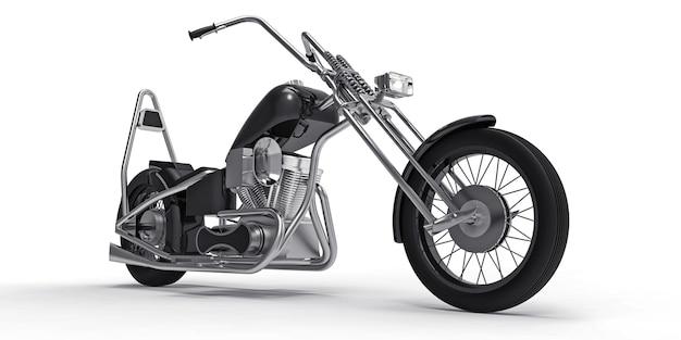 Schwarzes klassisches kundenspezifisches motorrad lokalisiert auf weißem hintergrund. 3d-wiedergabe.