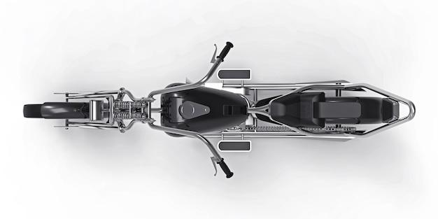 Schwarzes klassisches kundenspezifisches motorrad lokalisiert auf weißer oberfläche