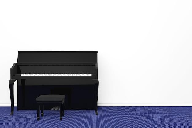 Schwarzes klavier mit stuhl gegen eine leere graue wand