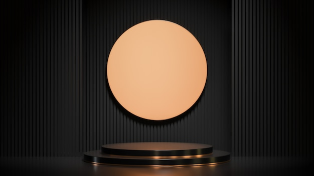Schwarzes kreis-podium für produktpräsentation auf luxusstil der schwarzen lattenwandhintergrund, 3d-modell und illustration.