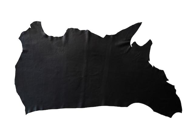 Schwarzes leder wird auf weißem hintergrund platziert