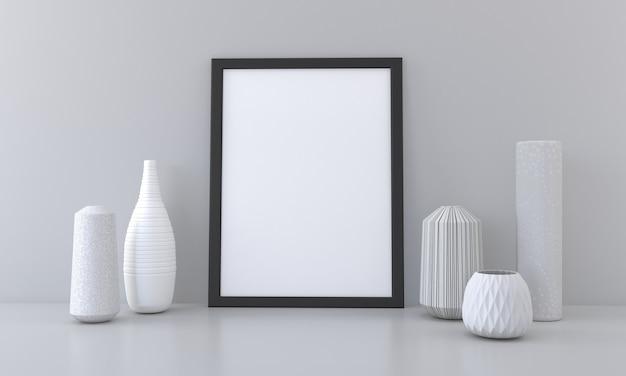 Schwarzes leeres rahmenmodell mit vasen