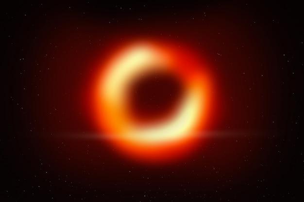 Schwarzes loch im raum mit galaxiehintergrund und -stern.