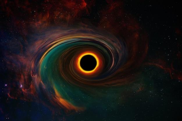 Schwarzes loch und eine scheibe aus glühendem plasma. erstaunliches schwarzes loch. abstrakte raumtapete. universum voller sterne
