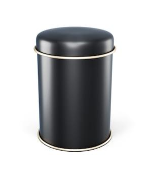 Schwarzes metallglas für tee lokalisiert auf weiß. vorlage blechdose mit platz für etiketten.