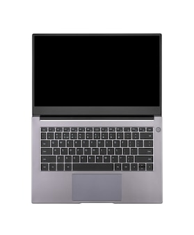 Schwarzes mock-up auf einem offenen laptop-bildschirm isoliert auf einer weißen hintergrundansicht von oben