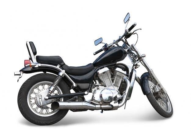 Schwarzes motorrad auf weiß