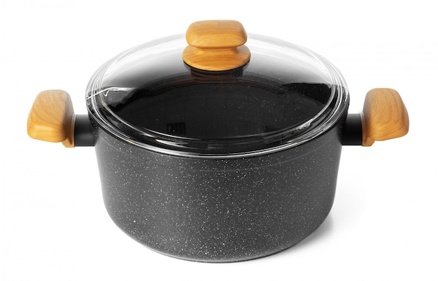 Schwarzes neues kochgeschirr utensil isoliert