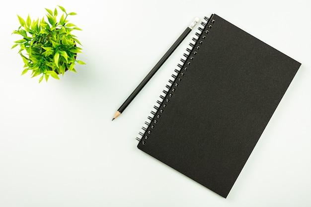 Schwarzes notizbuch und ein bleistift - draufsicht.