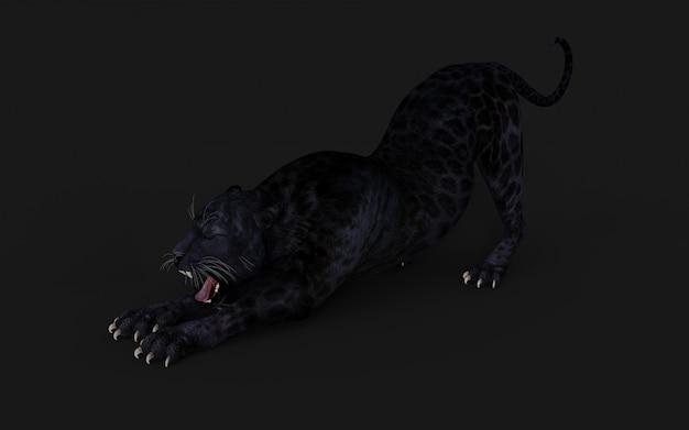 Schwarzes panther-isolat der illustrations-3d auf schwarzem