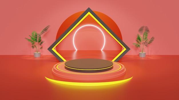Schwarzes podium 3d mit leuchtkasten und rotem hintergrund mit wand für ausstellungsprodukt