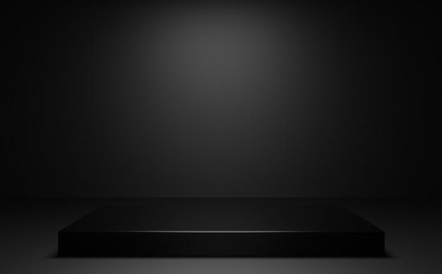 Schwarzes podium mit mittlerem licht und schwarzem hintergrund