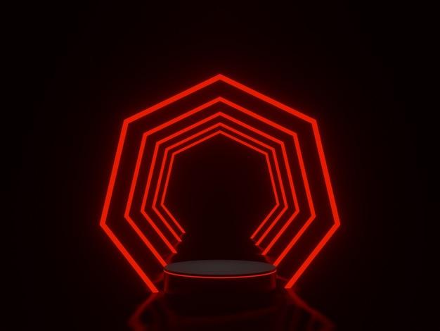 Schwarzes podium mit rotem neonlichttunnel