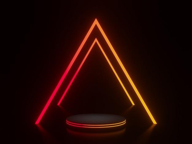 Schwarzes podium mit rotem und gelbem neonlicht