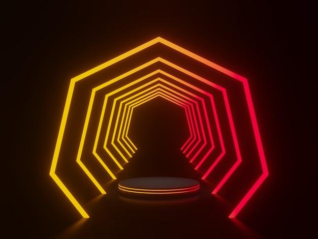 Schwarzes podium mit rotem und gelbem neonlichttunnel