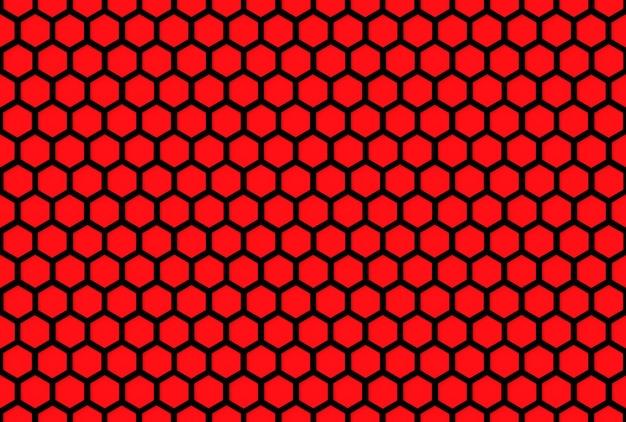 Schwarzes sechseckiges lochmustergitter auf rotem wandhintergrund