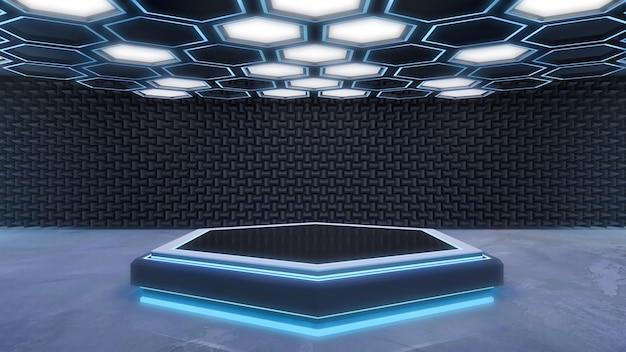 Schwarzes sechseckiges und blaues helles podium mit abstraktem futuristischem zukünftigem hintergrund