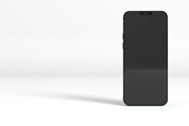 Schwarzes smartphone auf weißem hintergrund