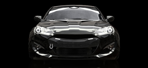 Schwarzes sportwagencoupé auf einem schwarzen hintergrund. 3d-rendering.