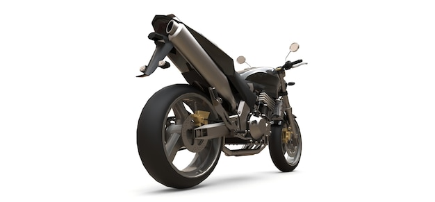 Schwarzes städtisches sport-zweisitzer-motorrad auf weißem hintergrund. 3d-illustration.