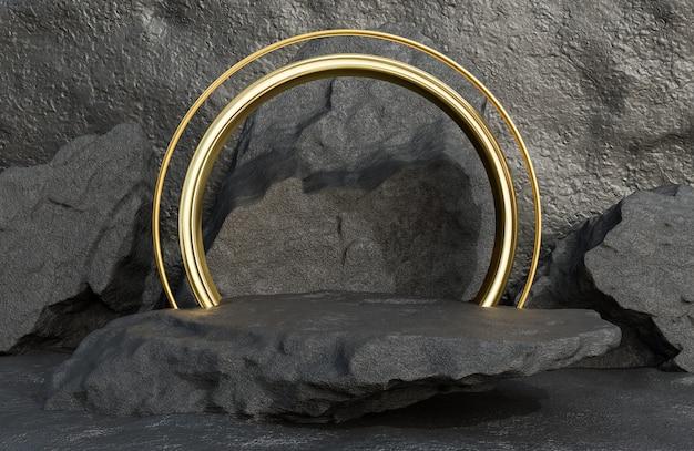Schwarzes steinpodium für produktpräsentation und goldener bogen auf steinmauerhintergrund im luxusstil., 3d-modell und illustration.