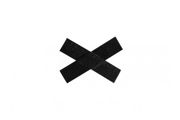 Schwarzes stoff-oberbeleuchterbandkreuz lokalisiert auf weißem hintergrund.