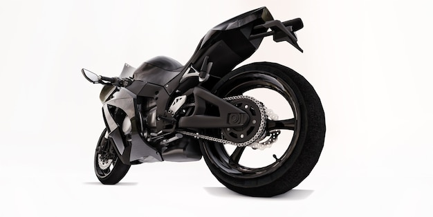 Schwarzes supersportmotorrad 3d auf weißem lokalisiertem hintergrund. 3d-darstellung.