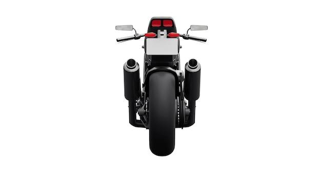 Schwarzes supersportmotorrad auf weißem hintergrund. 3d-darstellung.