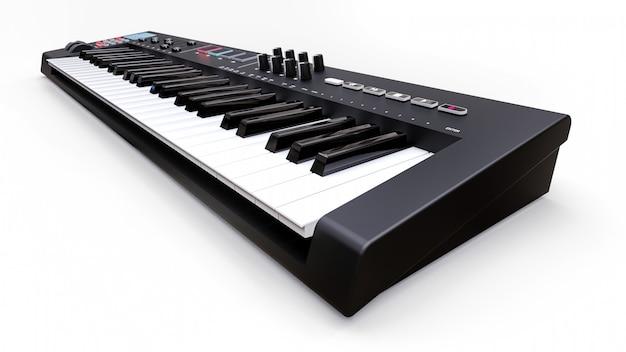 Schwarzes synthesizer-midi-keyboard auf weißen synthesizertasten hautnah