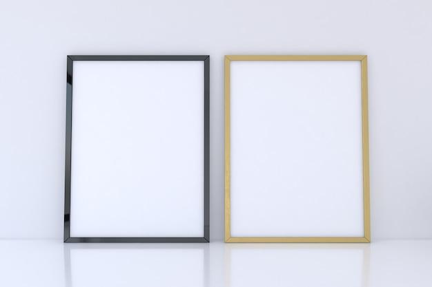 Schwarzes und goldenes rahmenmodell auf weißer wand