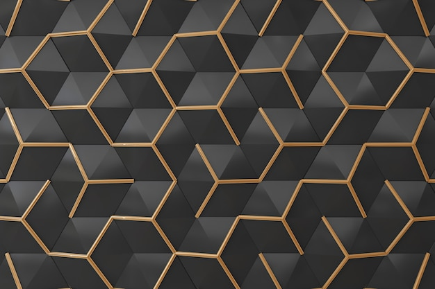 Schwarzes und wand des gold 3d für hintergrund
