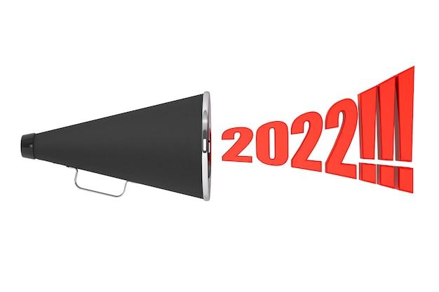 Schwarzes vintage-megaphon mit 2022-jahr-zeichen auf weißem hintergrund. 3d-rendering