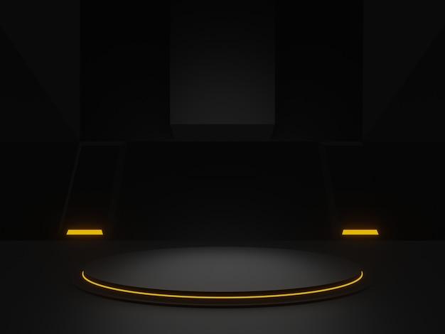Schwarzes wissenschaftliches stadium des 3d-renderings. dunkler hintergrund.
