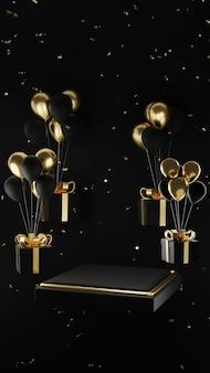 Schwarzgoldenes podium mit ballon und geschenkbox