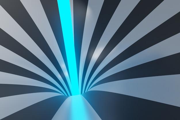 Schwarzgrauer trichter der 3d-illustration mit neonstrahl. gestreifter bunter abstrakter hintergrund.