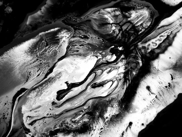 Schwarzweiss-acrylfarbenbeschaffenheit mit abstrakten organischen formen für kreative entwürfe