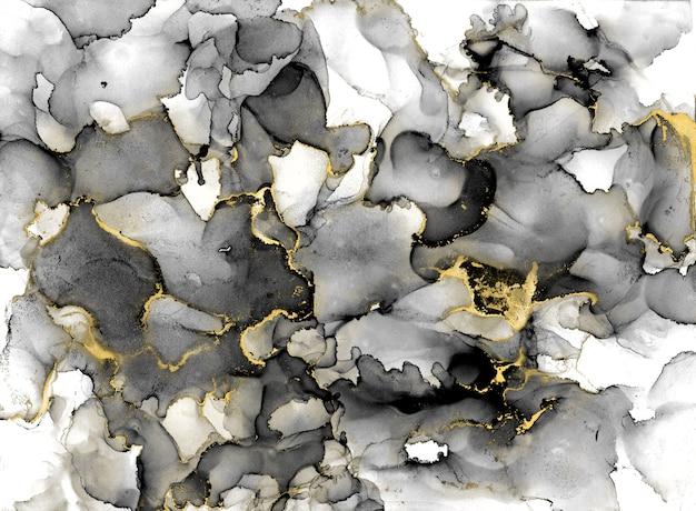 Schwarzweiss-aquarellhintergrund mit goldglitter. aquarell-alkohol-tintenspritzer, flüssige fließtexturfarbe, luxuriöses abstraktes digitales papierkunstmuster