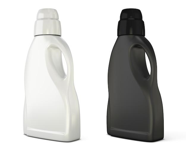 Schwarzweiss-flaschenschablone für waschmittel isoliert auf weiß. flaschenschablone für waschmittel. 3d-illustration.