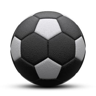 Schwarzweiss-fußball mit schatten. auf weiß isoliert. 3d rendern.