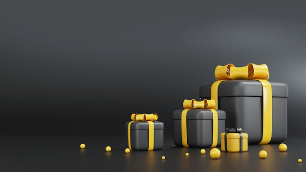 Schwarzweiss-geschenkbox des 3d-renderns zum geburtstag