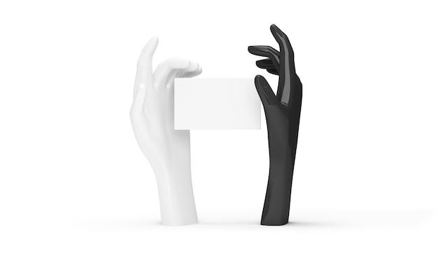 Schwarzweiss-hand, die leere karte auf weißem hintergrund hält