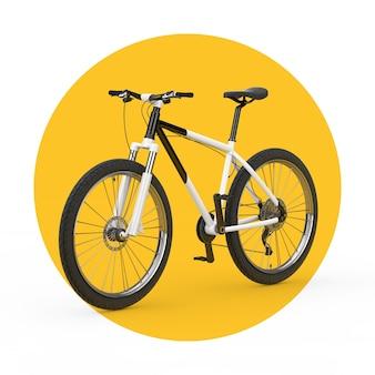 Schwarzweiss-mountainbike auf einem weißen und gelben hintergrund. 3d-rendering